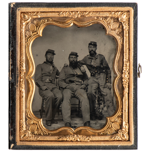 Sixth Plate Ambrotype Featuring Trio of Smoking New York Militiamen, Two Armed with Colt Revolvers