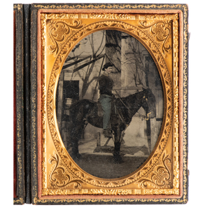 Outdoor Quarter Plate Tintype Featuring a Mounted Cavalryman