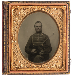 Sixth Plate Tintype of Infantry Musician with Violin and Bow