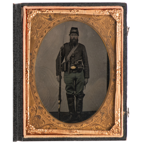 Quarter Plate Tintype of Triple-Armed Infantryman Sporting Cavalry Boots and Uncommon Square Trigger Colt Revolver