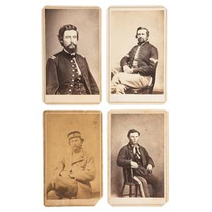 Lawrence, Kansas, Four CDVs of Civil War Officers and Civilians Incl. Edmund G. Ross