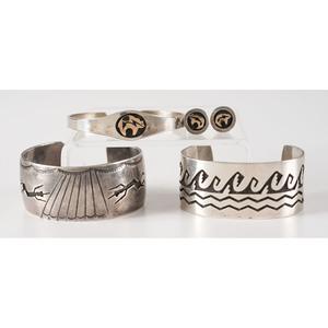 Hopi Silver Overlay Cuff Bracelets PLUS