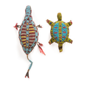 Sioux Beaded Turtle Umbilical Amulets, From the Stanley B. Slocum Collection, Minnesota
