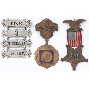 Minnesota 3rd Volunteer Infantry, Co. E, Civil War Ladder Badge, Plus GAR and UCV Badges