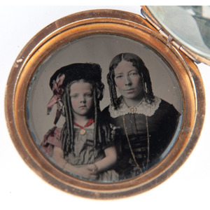 Daguerreian Locket in Form of Pocket Watch Containing Three Portraits of Flagg Family Members from Racine, Wisconsin