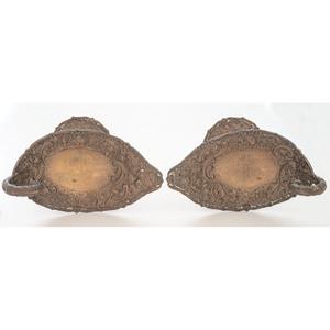A Pair of Loring Andrews Repoussé Castle Pattern Silver Tazzas