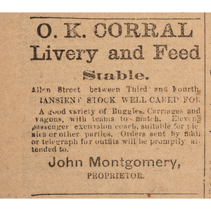 O.K. Corral Advertisement Featured in the Daily Tombstone, 1886