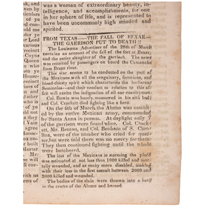 Fall of the Alamo Reported in the Salem Gazette, April 1836