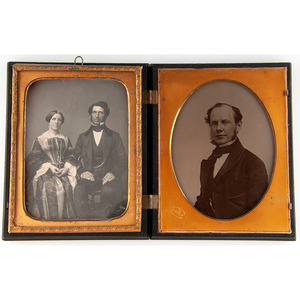 Half Plate Ambrotype of Distinguished Gentleman by Brady, Plus Half Plate Daguerreotype of Attractive Couple