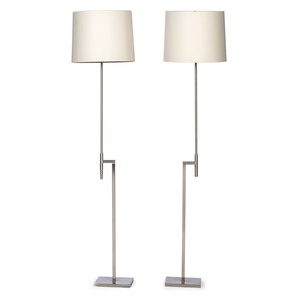 A Pair of Laurel Lamp Co. Brushed Steel Adjustable Floor Lamps