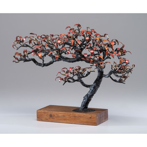 A Japanese Copper and Bronze Bonsai Tree