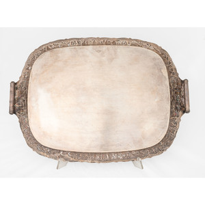 A Loring Andrews Repoussé Castle Pattern Silver Serving Tray