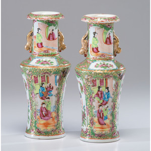 A Pair of Chinese Export Porcelain Rose Medallion Vases