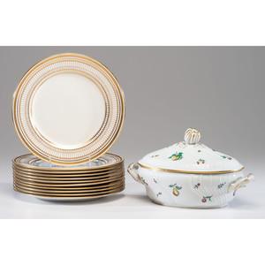 A Set of Royal Doulton Porcelain Plates and a Ginori Tureen