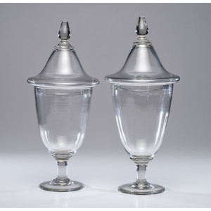 A Pair of Blown Glass Lidded Compotes
