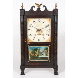 An Eli Terry Seth Thomas Pillar and Scroll Mantel Clock