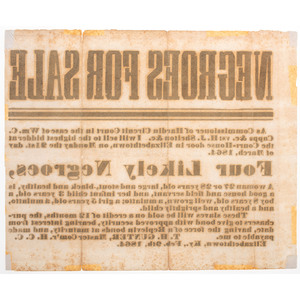 Civil War-Era Broadside from Kentucky Promoting Sale of Enslaved African Americans, February 1864