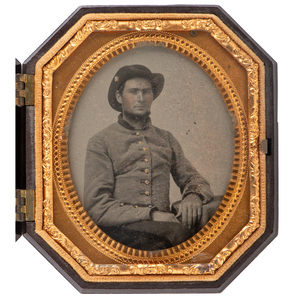 Sixth Plate Octagonal Ambrotype of Confederate Soldier from Georgia