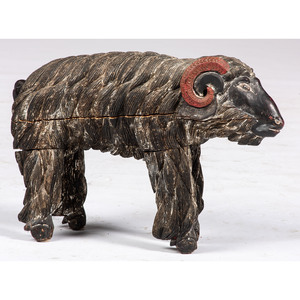 A Folk Art Carved and Painted Ram