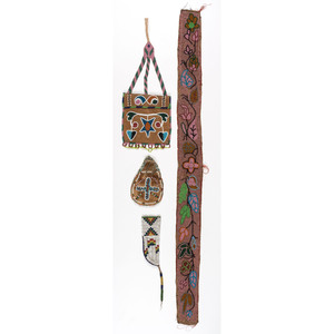 Plains Beaded Hide Pouches and Belt