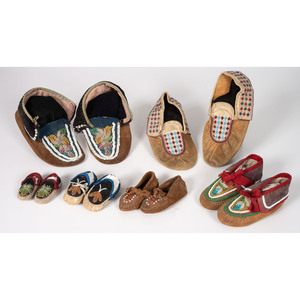 Collection of Great Lakes Beaded Moccasins