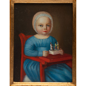 A Folk Art Portrait of a Child with Toy