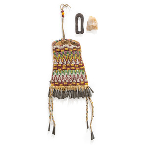 Apache Beaded Hide Bag, with Wrought Iron Striker
