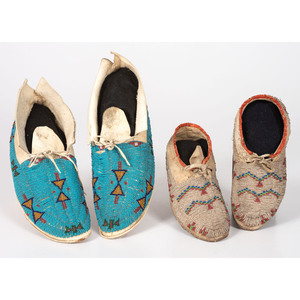 Sioux and Cheyenne Beaded Hide Moccasins
