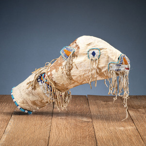 Sioux Beaded Hide Calf Head Bag