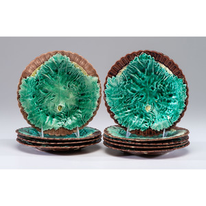A Set of Nine Majolica Leaf Plates