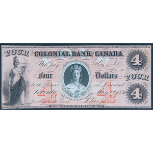 Colonial Bank of Canada $4 Note and International Bank of Portland $1 Notes