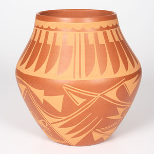 Carmelita Dunlap (San Ildefonso, 1925-1999) Micaceous Orangeware Pottery Jar