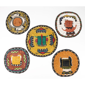 Hopi Third Mesa Wicker Plaques, with Figures