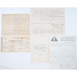 Civil War Documents Incl. Certificates of Exemption