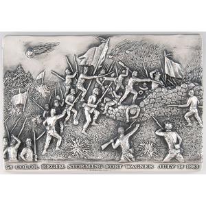 Henryk Winograd, 54 Color Regim. Storming Fort Wagner Sterling Silver Repousse Panel