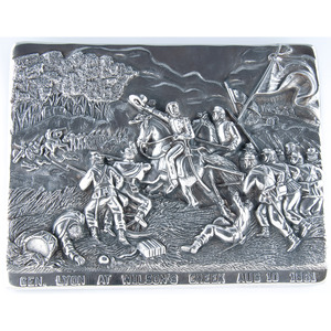 Henryk Winograd, Sterling Silver Repousse Panels of Union Generals Nathaniel Lyon and U.S. Grant in Combat