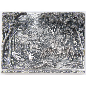 Henryk Winograd, Chancellorsville - Gen. Stonewall Jackson is Fatally Wounded Sterling Silver Repousse Panel
