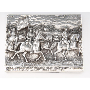 Henryk Winograd, Sterling Silver Repousse Panel Showing J.E.B. Stuart Leading his Cavalry Around McClellan's Army