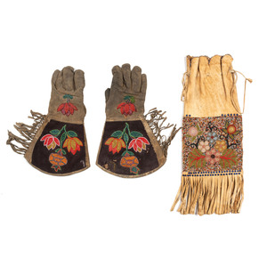 Western Great Lakes Beaded Tobacco Bag and Plateau Gauntlets