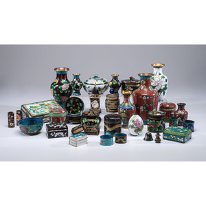 A Group of Cloisonné Vases, Boxes and Accessories