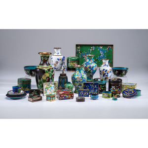 A Group of Cloisonné Vases, Boxes & Accessories