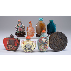 Seven Chinese Snuff Bottles and a Horn Box