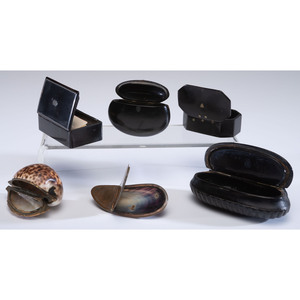 Six Lacquer and Shell Snuff Boxes