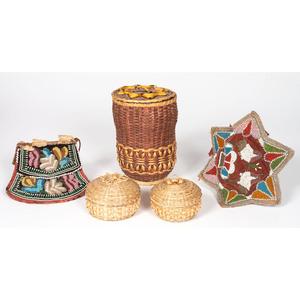 Haudenosaunee Beaded Pouch and Star Panel PLUS Split Ash Baskets