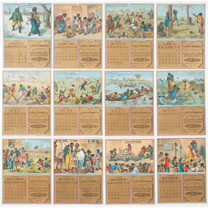 Calendar Trade Cards, Including Early Illustration of African Americans Playing Baseball, 1881