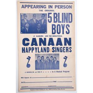 Five Blind Boys of Alabama Concert Poster, ca 1950