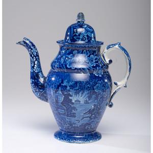A Staffordshire Blue Transfer 'Tomb of Franklin' Coffee Pot