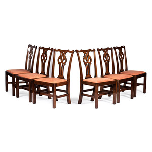 A Set of Six Chippendale Walnut Side Chairs