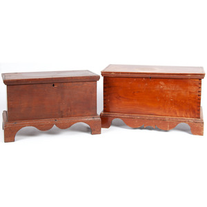 Two  Miniature Blanket Chests