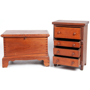 A Miniature Blanket Chest and Chest of Drawers